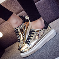 Manresar 2016 Nova Shinning Mulheres Ouro Prata Sapatos Trepadeiras Apartamentos Plataforma de Couro PU Sapatos Casuais Sapato Feminino Tamanho 35-40