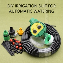 5m/10m/15m/20m/25m DIY Micro Drip Irrigation System Plant Self Automatic Watering Timer Garden Hose Kits With Adjustable Dripper