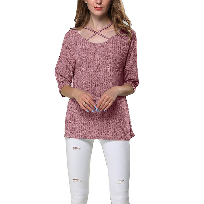 CANIS Women Long Sleeve Bandage Crop Tops Deep V Neck