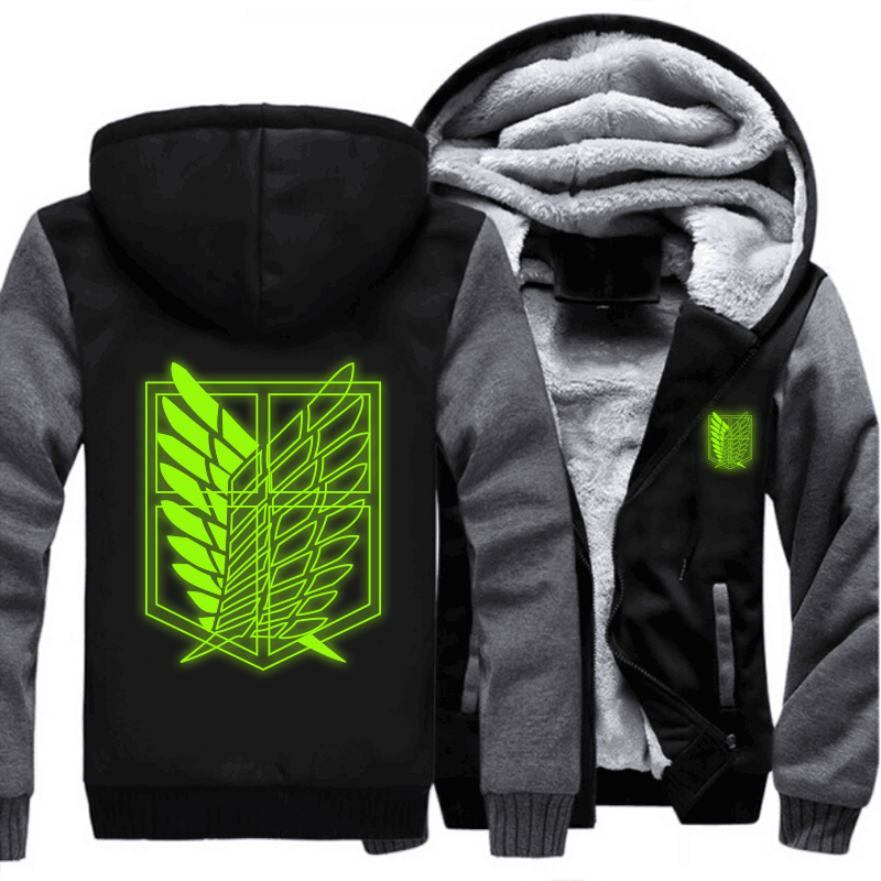 USA size Attack on Titan Survey Legion Green Luminous Coat Zipper Hoodie Winter Fleece Unisex Thicken Jacket Clothing