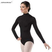 Женское черное трико с длинным рукавом, водолазка, балетная Одежда для танцев, лайкра, купальники из спандекса, боди, костюмы для гимнастики, Unitard