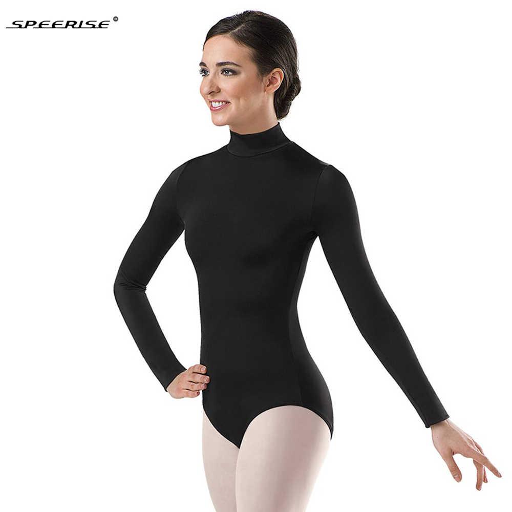 Для женщин черного цвета с длинными рукавами балетное трико с высоким, плотно облегающим шею воротником Одежда для бальных танцев, супер герой, лайкра, спандекс, трико, боди костюмы для гимнастики комбинезон