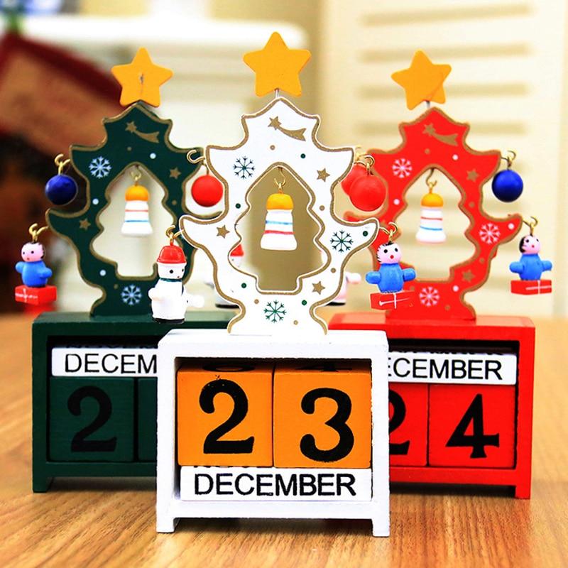 Creative Wooden Calendar Small Mini Wooden Decorative Ornaments Christmas Gifts DIY Calendar Art Crafts School Officel Supplies
