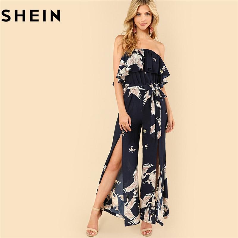 5d75749dc91 SHEIN Summer Sleeveless Boho Split Belted Maxi Jumpsuits 2018 Womens Beach  Vacation Flamingo Print Slit Hem Strapless Jumpsuit
