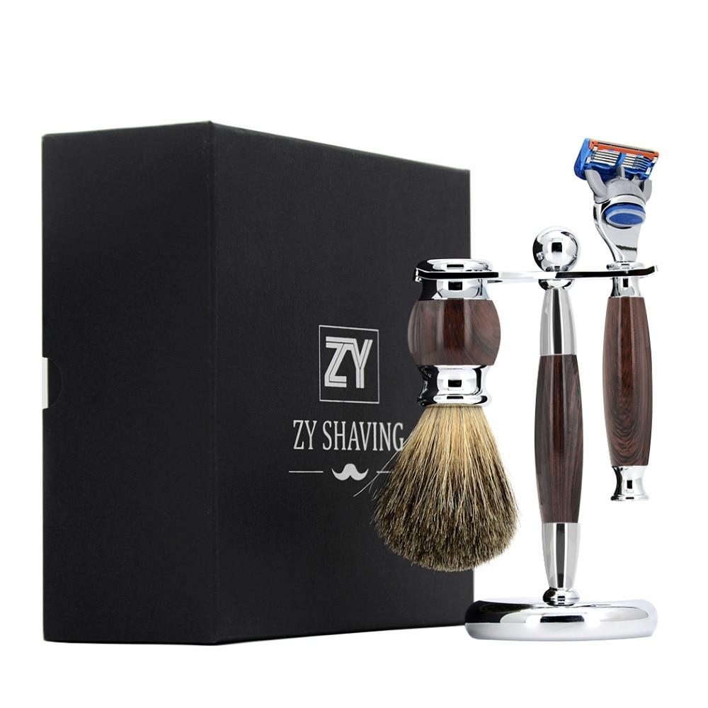 ZY Men Shaving Razor Set Cartridge 5 Blade Razor Badger Shaving Brush + Stand Holder For Shave Tool 3pcs/set Best Gift mens badger shaving brush stand razor holder and double head safety straight razor