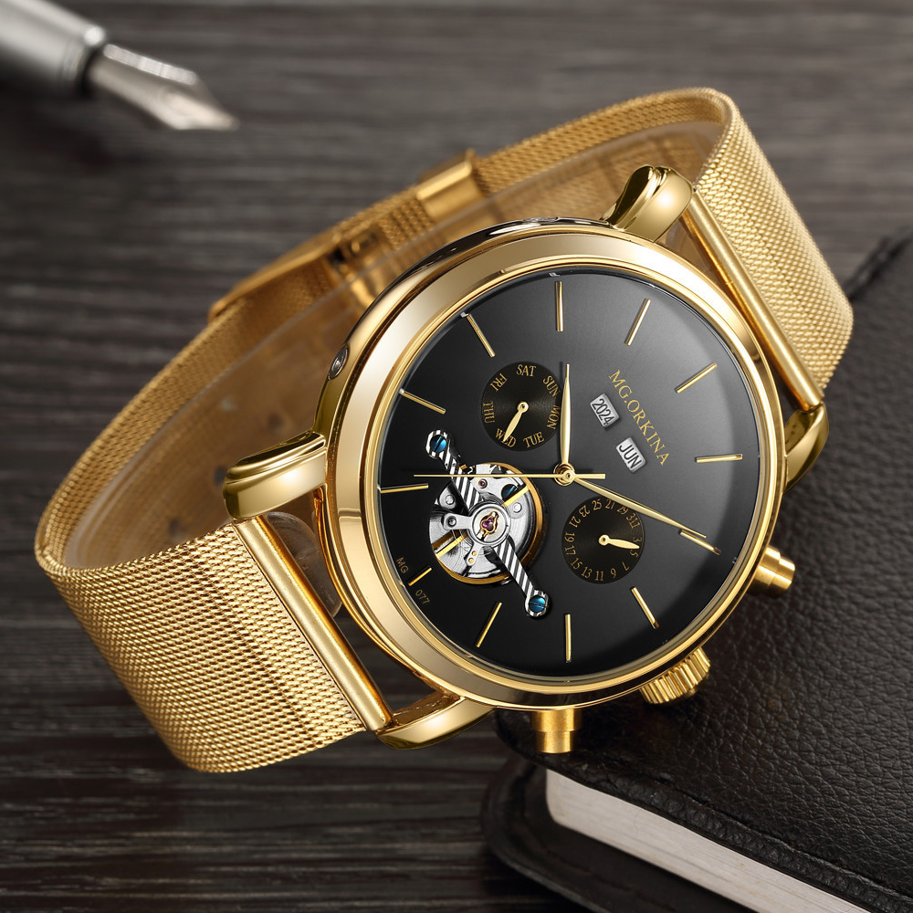Top Luxury Brand Orkina Watch Men Mechanical Watches Luxury Tourbillon Automatic Mechanical Watches Stainless Steel Gold Watch