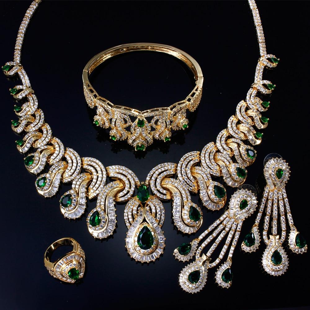 Ensembles de bijoux de mariée de luxe pour femmes avec zircon cubique 4 pièces (collier + bracelet + boucles d'oreilles + anneau) livraison gratuite