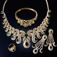 Luxury Women Bridal Jewelry Sets with Cubic zircon 4pcs sets ( necklace + bracelet + earrings + ring) free shipment
