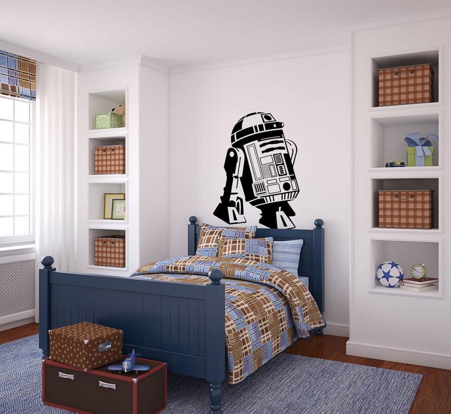 6 4 25 De Reduction Affiche 3d Star Wars R2d2 Droide Robot Stickers Muraux Chambre Enfants Chambre Decalcomanie Murale Porte En Verre Papier Peint