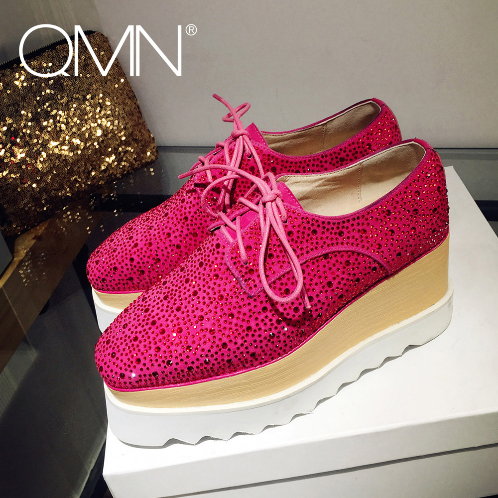 ФОТО QMN women genuine leather platform flats Women Crystal Embellished Flat Heels Brogue Shoes Woman Natural Suede Oxfords Creepers