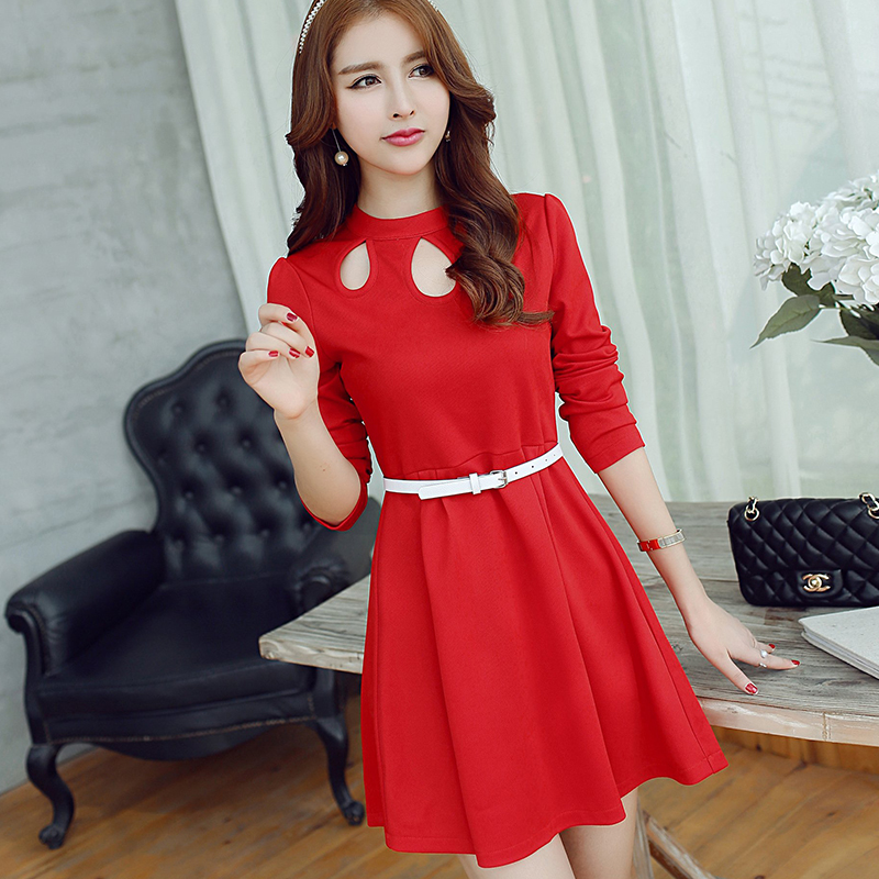 new arrival stylish young lady girl long sleeve red dress spring