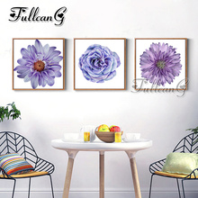 FULLCANG diy triptych diamond painting purple flower 3 pieces mosaic cross stitch 5d diamant embroidery full drill G1314