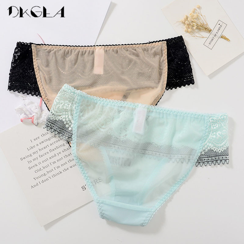 e61739d8d87 Fashion Comfort Sexy Panties Women Underwear Lace Embroidery Flowers Briefs  Transparent Plus Size XL Panty 2 Piece Green+Black-in women s panties from  ...