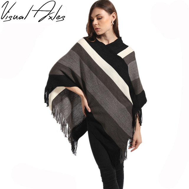 62856b1d6 Visual Axles 2017 New Knitting Sweater Poncho Women Autumn Winter Warm  Black and White Striped Cape