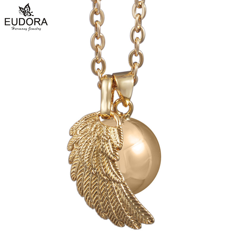 18k Gold Bola Chain Angel Wing Pendant 18mm Harmony Bola 30inch Fashion Necklaces for font b
