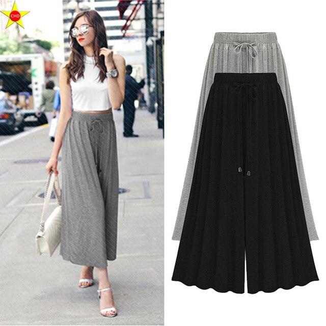 c6cfbccaa4 L-5XL Plus tamaño Casual mujeres tobillo longitud 2019 pantalones de moda  de verano plisado