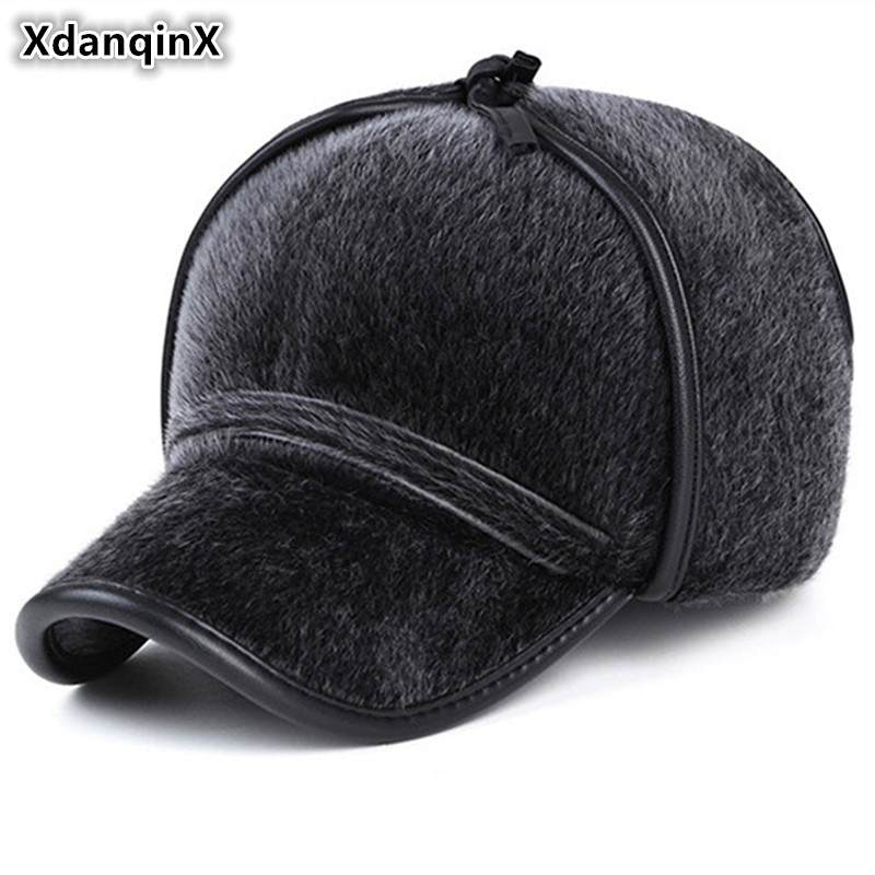XdanqinX Winter Hats For Men Imitation Mink Warm Baseball Caps With Ears Hooded Thicker Sea Lions Hair Windproof Cap Dad's Hat skullies beanies mink mink wool hat hat lady warm winter knight peaked cap cap peaked cap