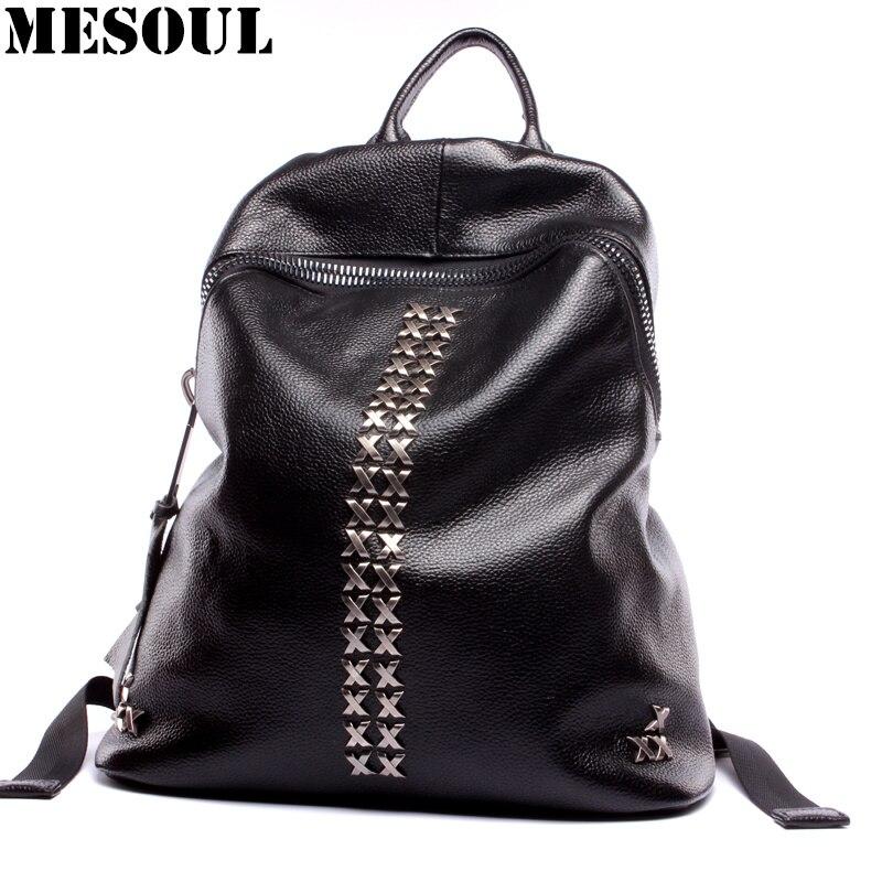 여자 배낭 대용량 진짜 가죽 어깨 데이 팟 여성 배낭 Mochilas Mujer 소녀를위한 패션 리벳 학교 가방