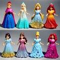 8 pçs/set Magia Clipe Bonecas Vestido Magiclip Figurinhas Estátua Branca de Neve Cinderela Princesa Elsa Anna PVC Figuras de Ação Brinquedos Infantis