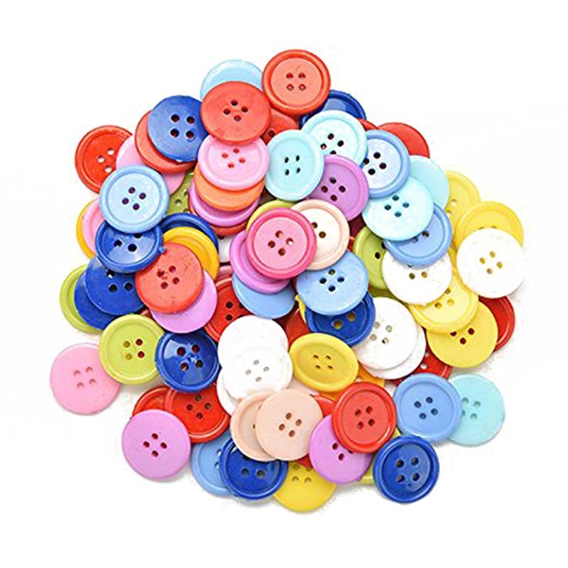 YHYS générique bricolage couleur aléatoire lot de 100 boutons de couture artisanat pour enfants bricolage jouets, plastique, couleur aléatoire, 20mm