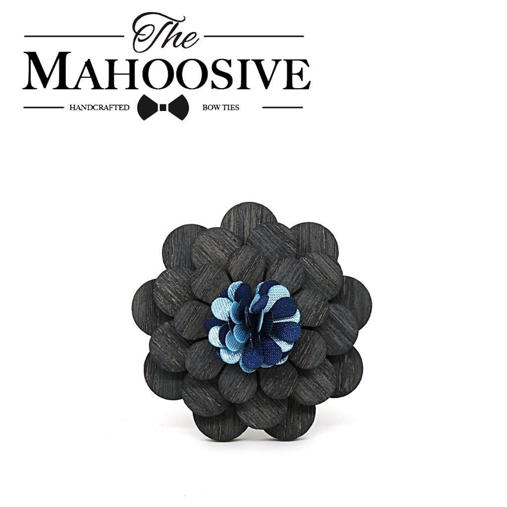 Mahoosive Fashion Wood Brooch Lapel Pins Flowers Enamel For Men Girl Women Wooden Broches Collar Badge Wedding Suit Decor