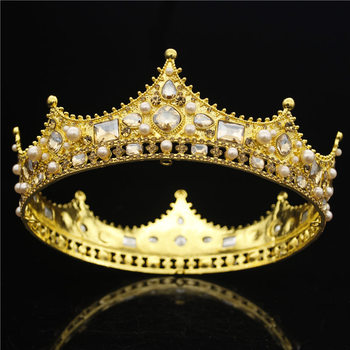 Baroque Queen King Tiara Crown for Bridal Wedding Hair Jewelry Crystal Diadem Prom Headpiece Big Gold Tiaras and Crowns Bride 1