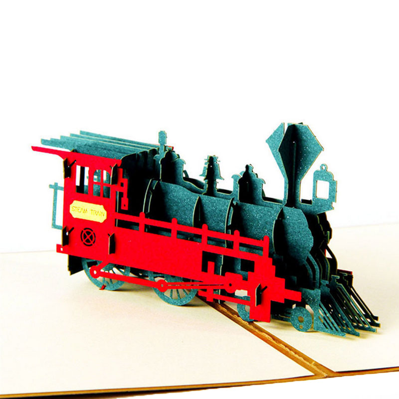 3D Pop Up Greeting Cards Train Happy Birthday Thank You Halloween ...