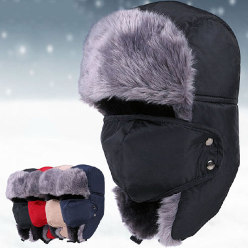 Bomber-Hat Cossack Russian Ushanka Warm-Caps Pocket Winter Fur with Sherpa Ski-Showerproof