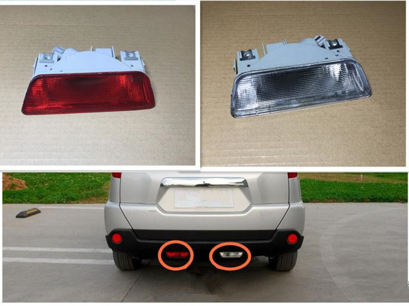 MZORANGE For Nissan X-Trail XTrail T31 2008 2009 2010 2011 2012 2013 Car Rear Bumper Fog Lamp Reverse Brake Reflector Lights front fog lights for nissan qashqai 2007 2008 2009 2010 2011 2012 2013 auto bumper lamp h11 halogen car styling light bulb