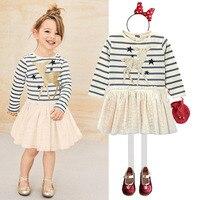 Spring Autumn Cartoon Gold Deer Pentacle Star Stripe Patchwork Lace Princess Girls Tee Shirt Dress Tutu