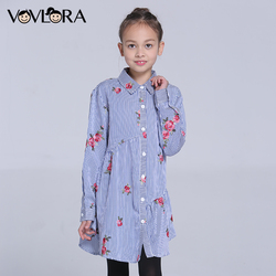 Girls Blouse Dress Striped Long Turn-down Collar Kids Blouse Shirt Floral Cotton Children Clothes Spring Size 9 10 11 12 13 14 Y