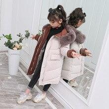 Детская зимняя хлопковая куртка-пуховик; Новинка года; Модная одежда для девочек; детская одежда; толстая парка с меховым капюшоном; зимний комбинезон; Верхняя одежда; пальто