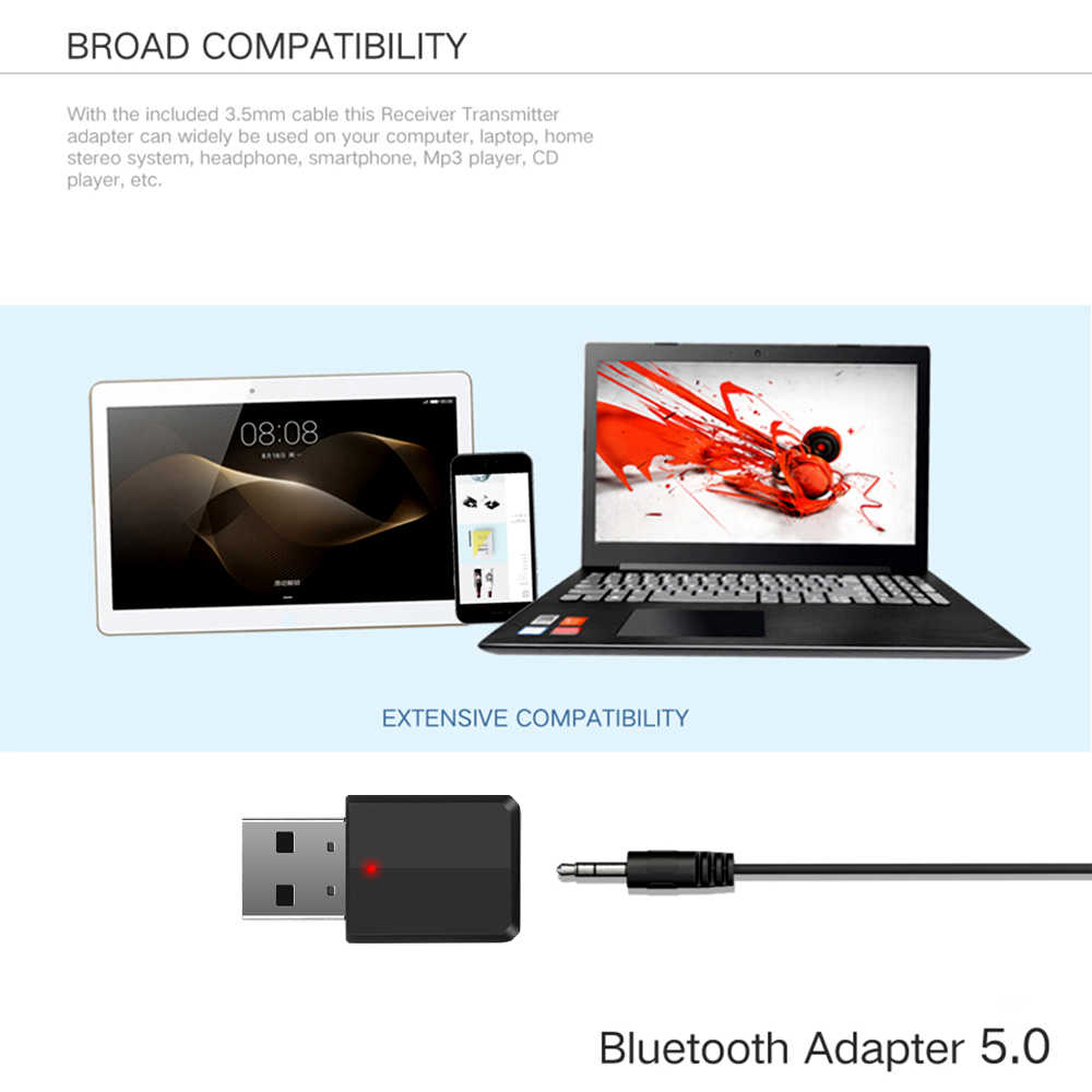 KEBIDU Bluetooth 5.0 Adapter Bluetooth Transmitter Receiver 3.5mm Stereo Audio Sound Music Dongle For PC TV Speakers Headphones
