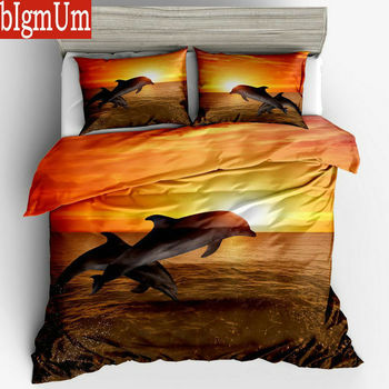3D Printed Bedding Set 3pcs Turtle Dolphin Patten Undersea World Duvet Cover Pillowcases US Size Twin Full Queen King