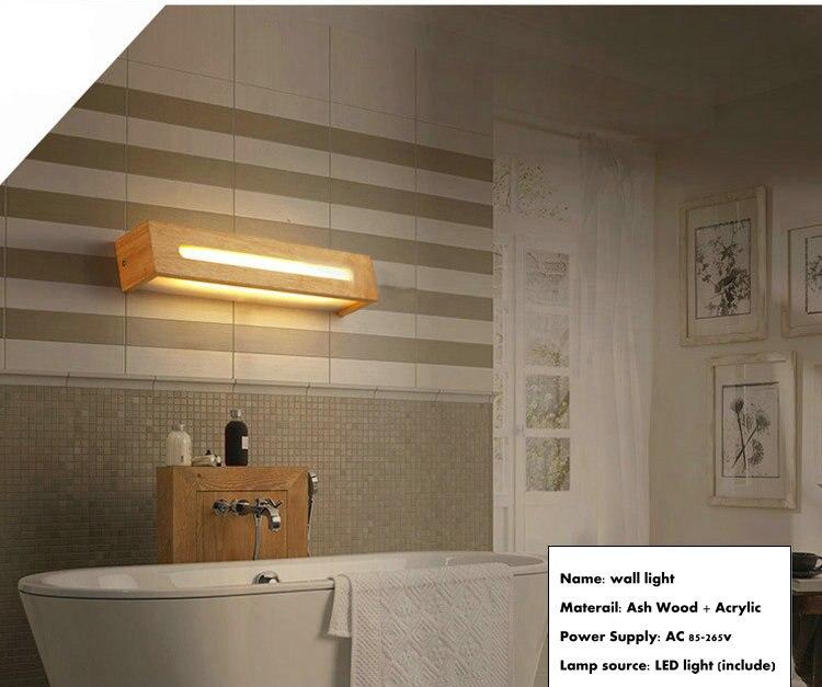 En bois vintage salle de bains led miroir mural luminaires pour la