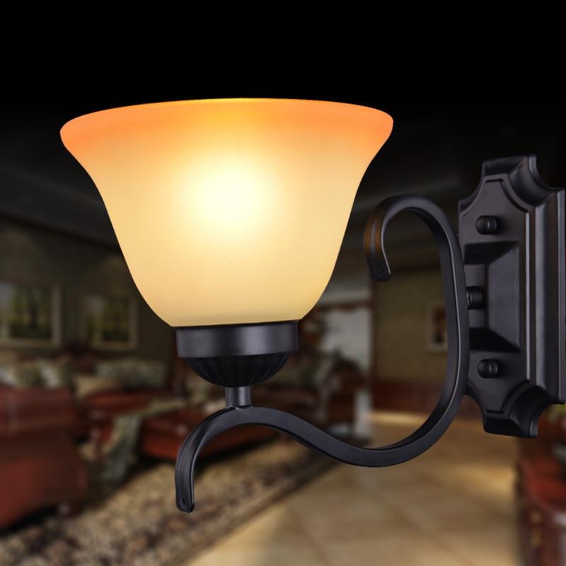 ФОТО European minimalist wall lamp matte black wrought iron single head wall light lamp for living room bedroom wall
