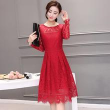 New 2017 Autumn Fashion Hollow Out Elegant Black Red Lace Elegant Party Dress High Quality Women Long Sleeve Casual Dresses