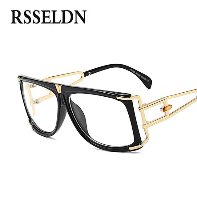 5c3c0f7a7ee0 RSSELDN 2018 Big Square Glasses Women Optical Frame Brand Luxury .