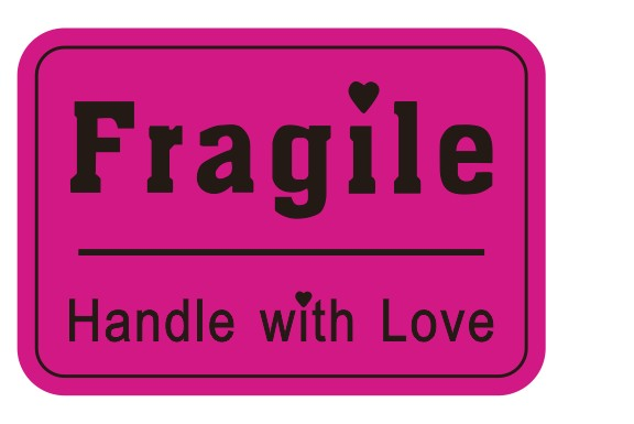500 pcs 76x51mm warranty fragile sticker handle with love label sticker custom sticker