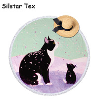 Silstar Tex Cartoon Lovely Cats Digital Printing Summer Large Beach Towel Round Microfiber Tassel Blankets Circle Sunbath Mat