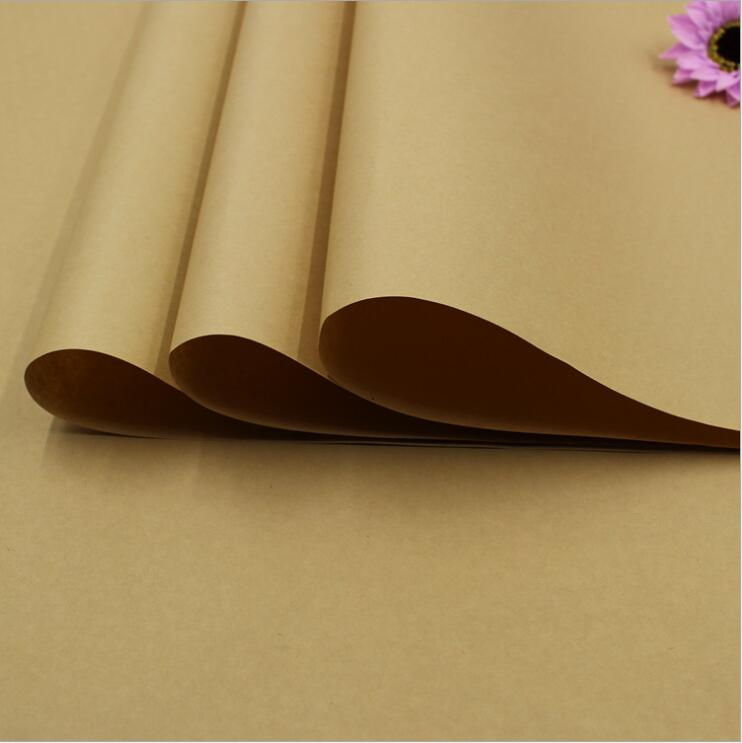 2017 20pcs/lot Kraft Gift 76*52.5cm Solid Brown Color Kraft Wrapping Papers Large Background Paper Top Quality