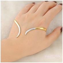 Mytys nueva joyería de moda brazalete palma la handlet palma brazalete de oro amarillo plateado para dama r713