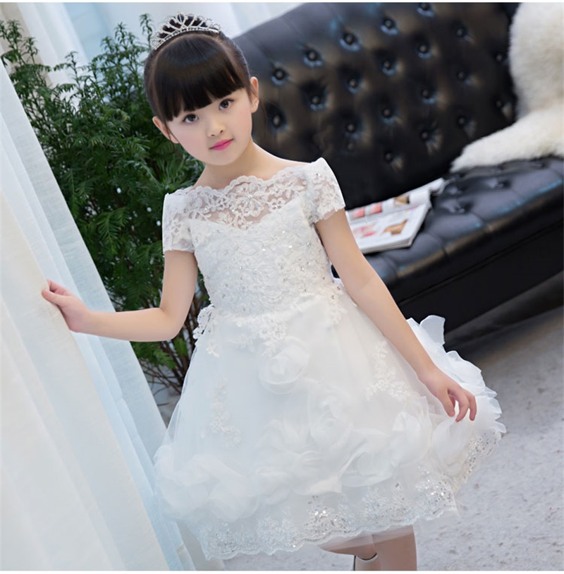 Latest Short Flower Girl Dresses with Appliques Princess Communion Party Pageant Dress Little Girls Kids/Child Birthday Dress