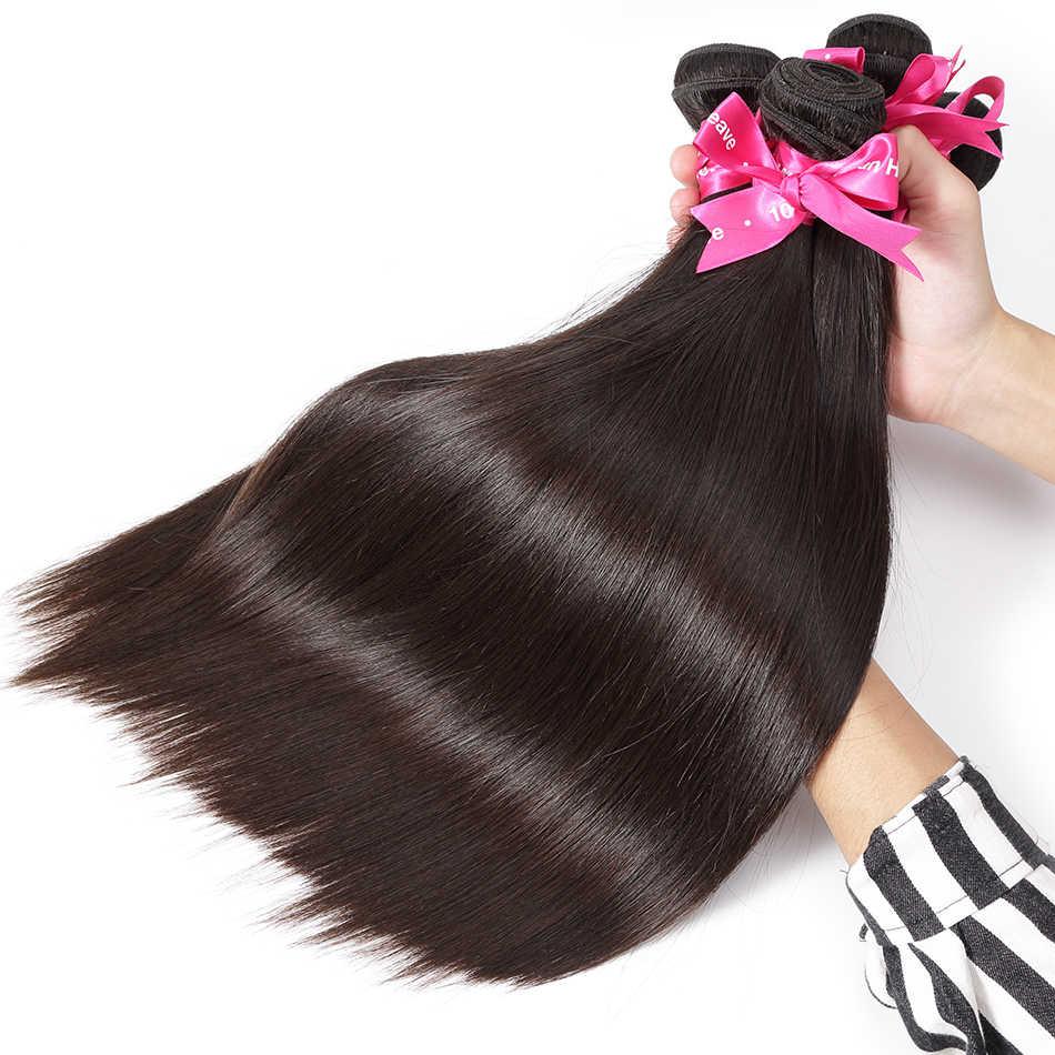 Luvin Straight 8- 40 Inch 28 30 32 Inch 100% Human Hair Unprocessed Virgin Hair Weave 1 3 4 Bundles Natrual Straight Hair Extens