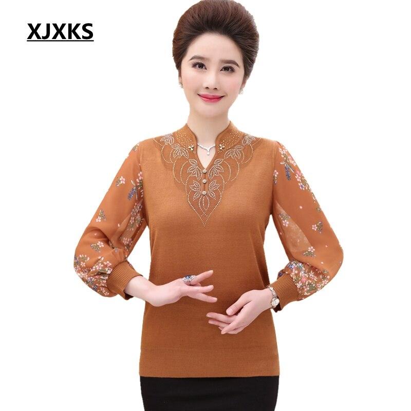 Xjxks Pullover Women Plus Size Top Thin Sweater Spring Oversized Sweater Chiffon Sleeve New 2019 Vintage Women Sweater