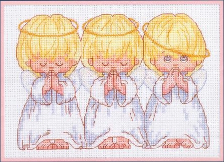 Needlework,DMC Cross Stitch,Set For Embroidery Kit,Three Little Baby Angel Pattern Counted Cross-Stitch, Love Sewing Kit Wedding
