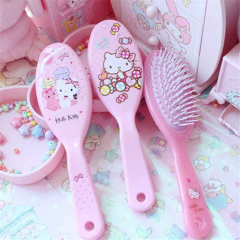 48907743a Pink Hello Kitty My Melody Kid Hair Brush Comb Anti Static Air Cell Portable  Hairbrush Cartoon