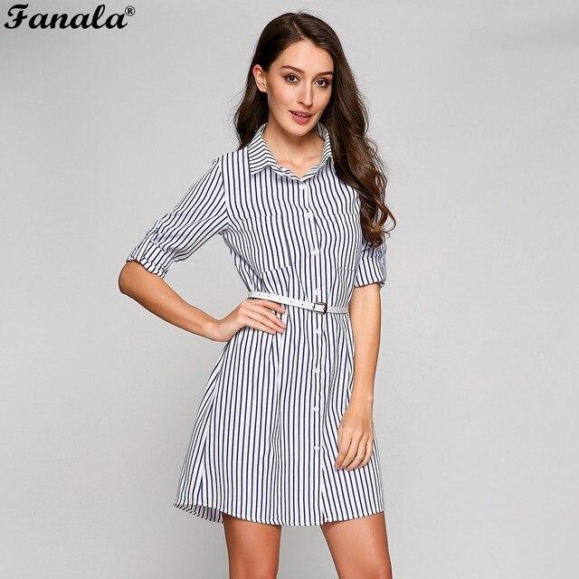 f4640a698 Fanala 2018 vestido de verano mujeres casual Slim vestido Oficina manga  larga rayas Vestidos botón camisa