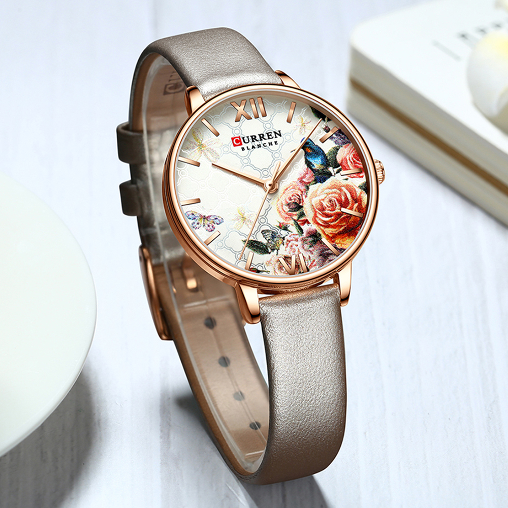 CURREN Beautiful Flower Design Watches Women Fashion Casual Leather Wristwatch Ladies Watch Female Clock Women's Quartz Watch 2