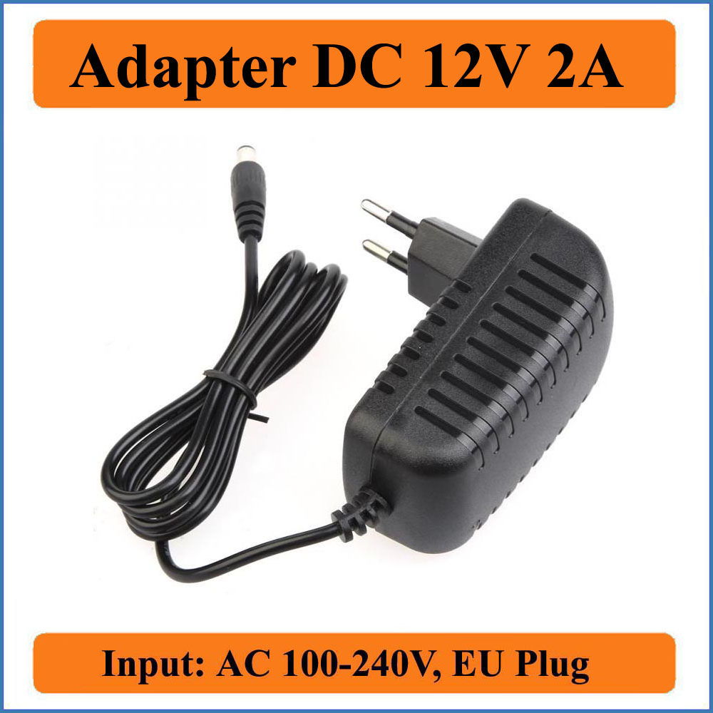 12V 2A EU Plug AC DC Adapter AC 100-240V Converter to DC12V 2000mA Adapters Charger Power Supply for LED strip lights or Router